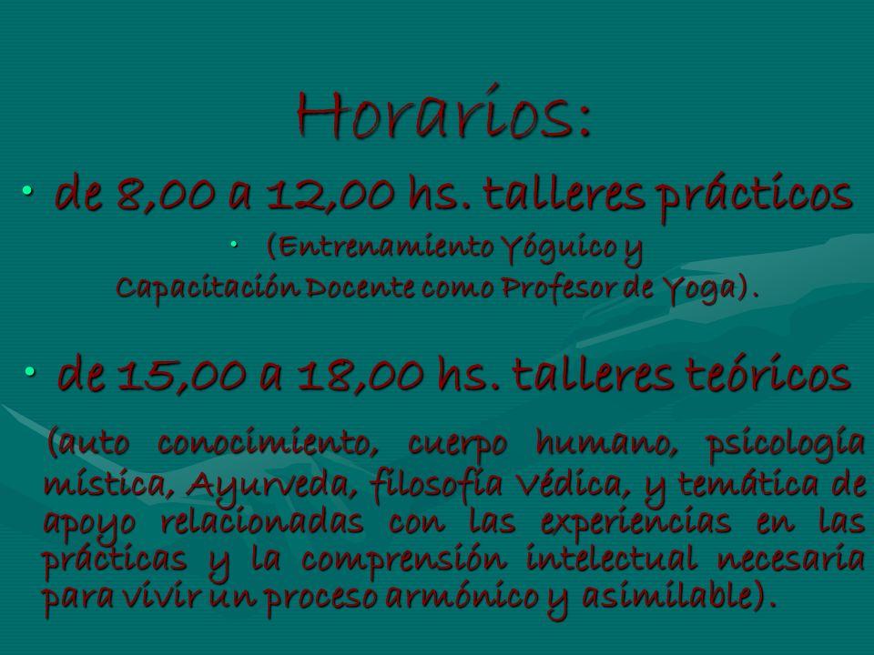 Horarios: Horarios: de 8,00 a 12,00 hs. talleres prácticosde 8,00 a 12,00 hs. talleres prácticos (Entrenamiento Yóguico y(Entrenamiento Yóguico y Capa