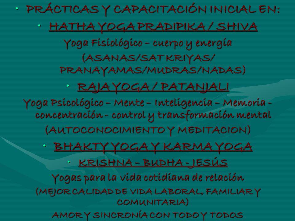 PRÁCTICAS Y CAPACITACIÓN INICIAL EN:PRÁCTICAS Y CAPACITACIÓN INICIAL EN: HATHA YOGA PRADIPIKA / SHIVAHATHA YOGA PRADIPIKA / SHIVA Yoga Fisiológico – c