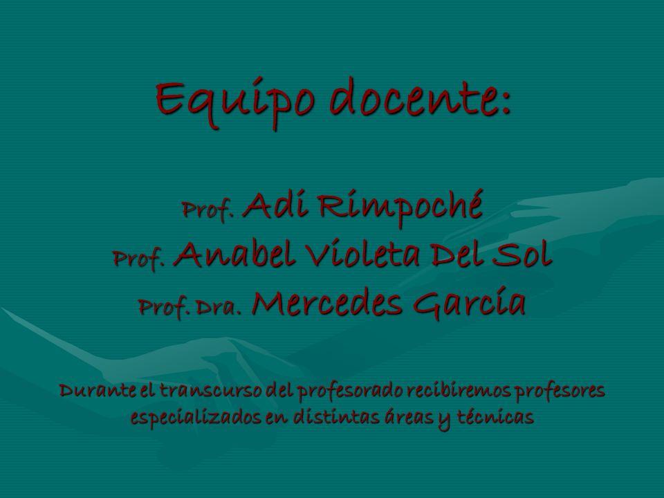 Equipo docente: Prof. Adi Rimpoché Prof. Anabel Violeta Del Sol Prof. Dra. Mercedes García Durante el transcurso del profesorado recibiremos profesore