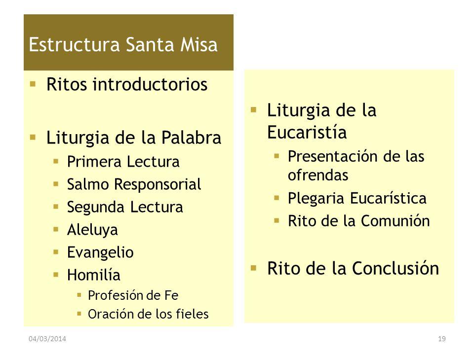 Estructura Santa Misa Ritos introductorios Liturgia de la Palabra Primera Lectura Salmo Responsorial Segunda Lectura Aleluya Evangelio Homilía Profesi