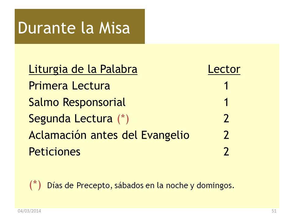 Durante la Misa Liturgia de la Palabra Lector Primera Lectura1 Salmo Responsorial1 Segunda Lectura (*)2 Aclamación antes del Evangelio2 Peticiones2 (*
