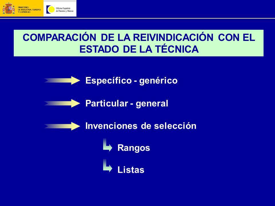 COMPARACIÓN DE LA REIVINDICACIÓN CON EL ESTADO DE LA TÉCNICA Específico - genérico Invenciones de selección Rangos Listas Particular - general
