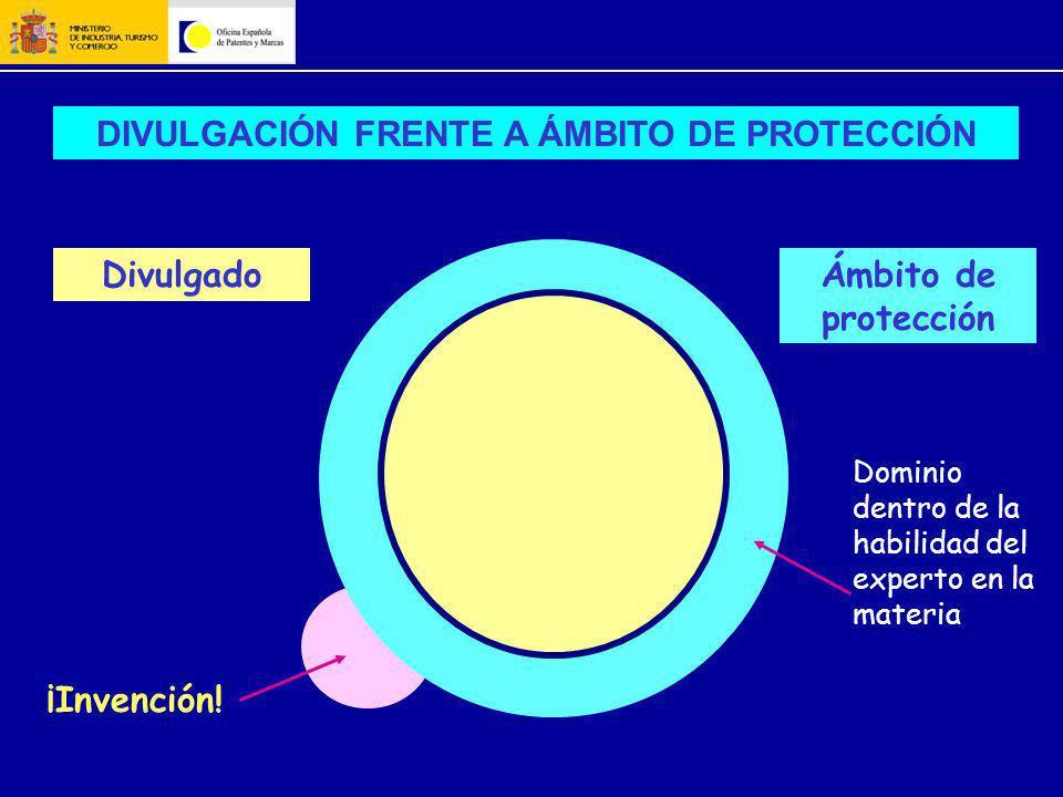 Divulgado Dominio dentro de la habilidad del experto en la materia ¡Invención! DIVULGACIÓN FRENTE A ÁMBITO DE PROTECCIÓN Ámbito de protección