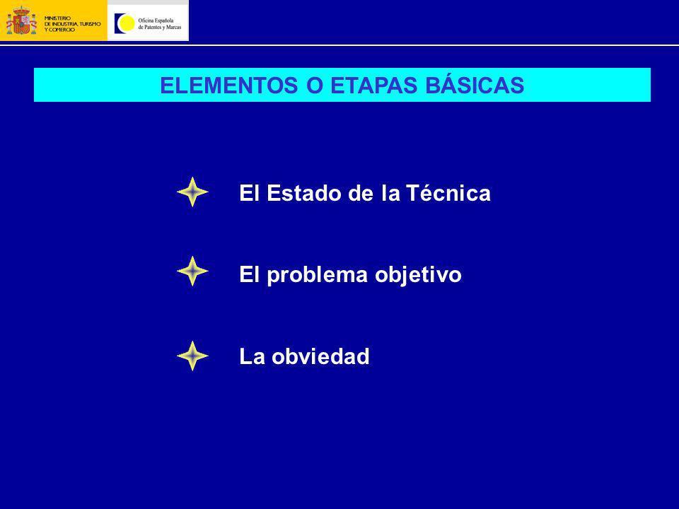 ELEMENTOS O ETAPAS BÁSICAS El Estado de la Técnica El problema objetivo La obviedad