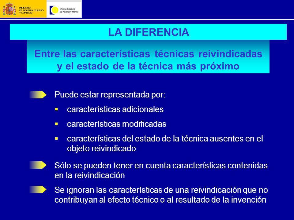 Entre las características técnicas reivindicadas y el estado de la técnica más próximo LA DIFERENCIA Puede estar representada por: características adi