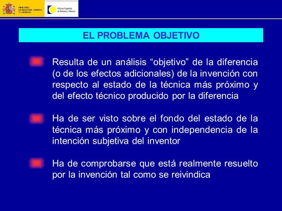 EL PROBLEMA OBJETIVO Resulta de un análisis objetivo de la diferencia (o de los efectos adicionales) de la invención con respecto al estado de la técn