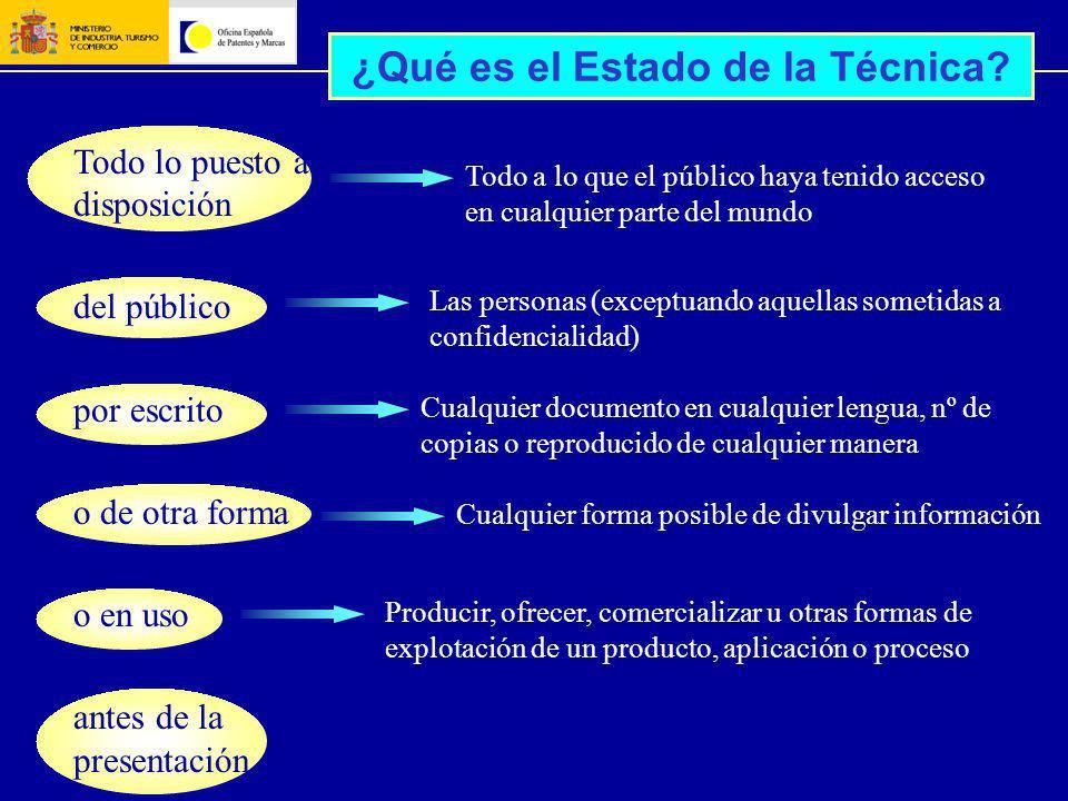 ¿Qué es el Estado de la Técnica? Todo lo puesto a disposición del público por escrito o de otra forma o en uso antes de la presentación Todo a lo que