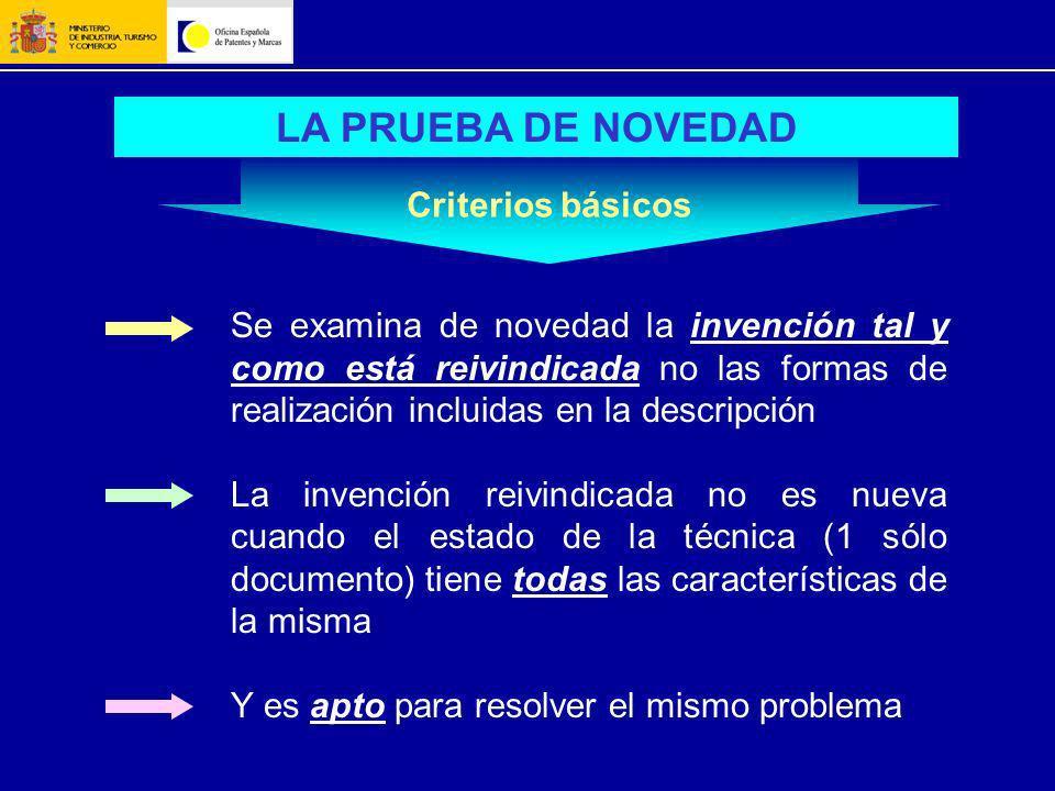 LA PRUEBA DE NOVEDAD Se examina de novedad la invención tal y como está reivindicada no las formas de realización incluidas en la descripción La inven