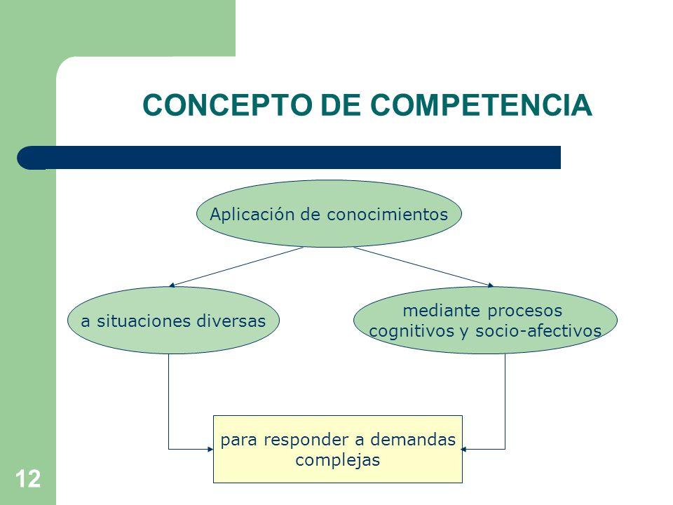 12 CONCEPTO DE COMPETENCIA Aplicación de conocimientos mediante procesos cognitivos y socio-afectivos a situaciones diversas para responder a demandas complejas