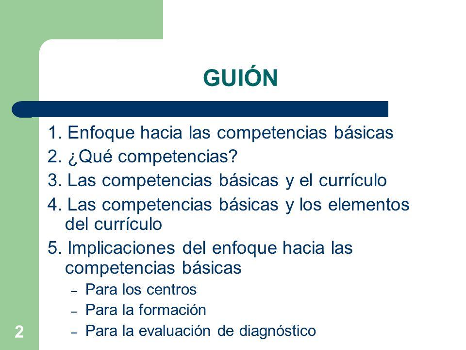 2 GUIÓN 1.Enfoque hacia las competencias básicas 2.