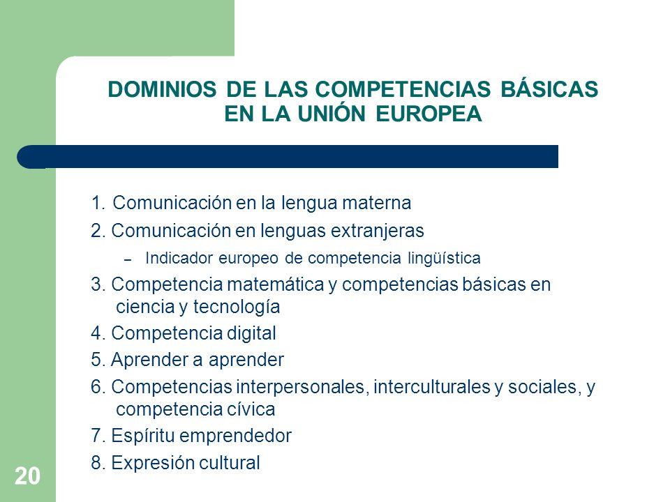20 DOMINIOS DE LAS COMPETENCIAS BÁSICAS EN LA UNIÓN EUROPEA 1.