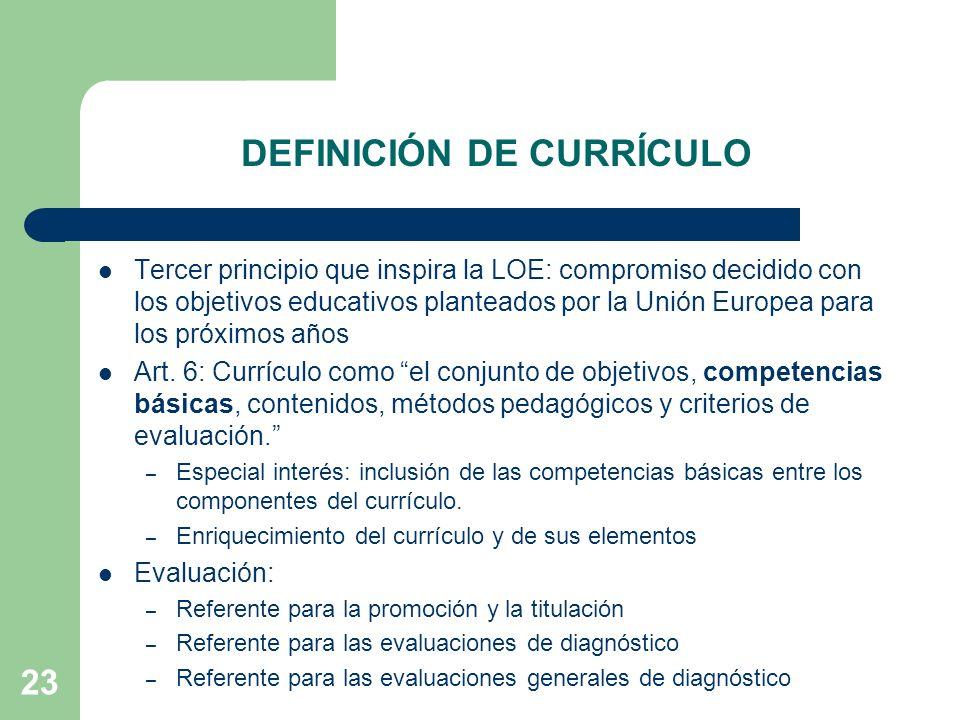 23 DEFINICIÓN DE CURRÍCULO Tercer principio que inspira la LOE: compromiso decidido con los objetivos educativos planteados por la Unión Europea para los próximos años Art.