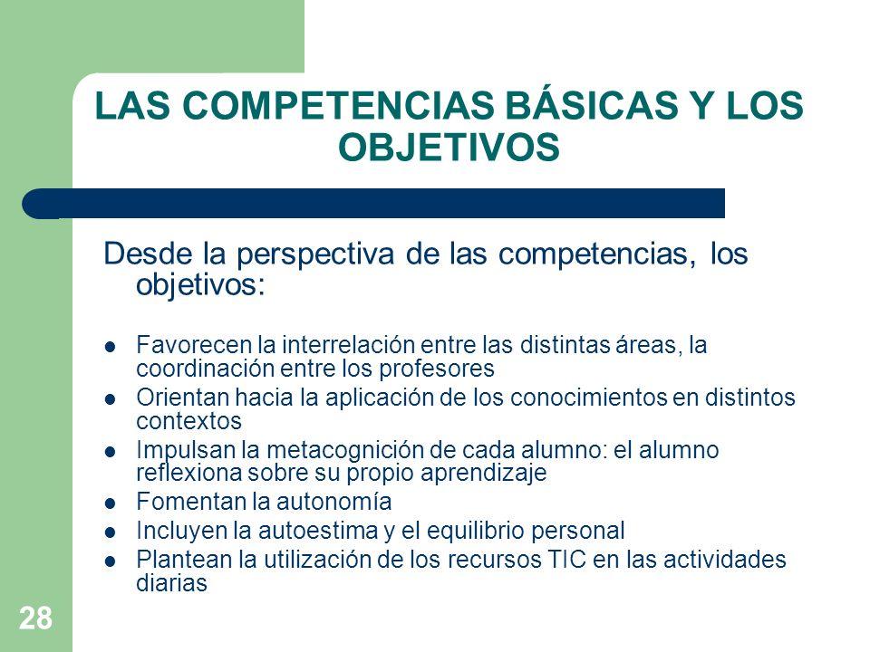 28 LAS COMPETENCIAS BÁSICAS Y LOS OBJETIVOS Desde la perspectiva de las competencias, los objetivos: Favorecen la interrelación entre las distintas áreas, la coordinación entre los profesores Orientan hacia la aplicación de los conocimientos en distintos contextos Impulsan la metacognición de cada alumno: el alumno reflexiona sobre su propio aprendizaje Fomentan la autonomía Incluyen la autoestima y el equilibrio personal Plantean la utilización de los recursos TIC en las actividades diarias