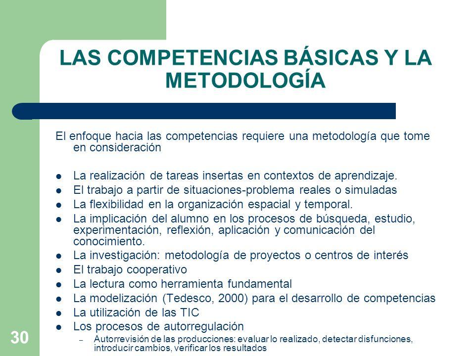 30 LAS COMPETENCIAS BÁSICAS Y LA METODOLOGÍA El enfoque hacia las competencias requiere una metodología que tome en consideración La realización de tareas insertas en contextos de aprendizaje.
