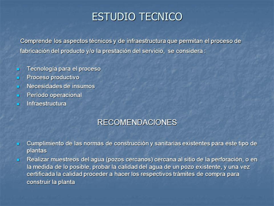 ESTUDIO TECNICO Comprende los aspectos técnicos y de infraestructura que permitan el proceso de Comprende los aspectos técnicos y de infraestructura q