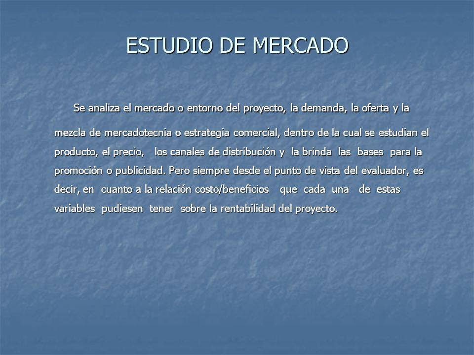 ESTUDIO DE MERCADO Se analiza el mercado o entorno del proyecto, la demanda, la oferta y la mezcla de mercadotecnia o estrategia comercial, dentro de