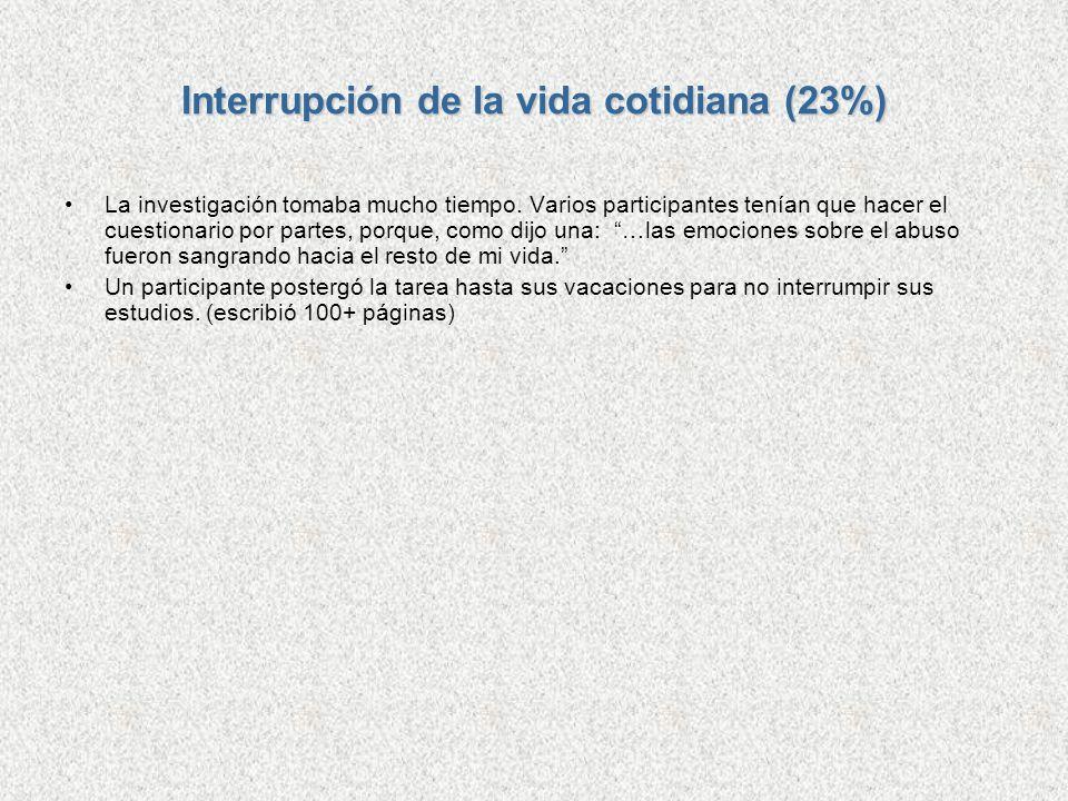 Interrupción de la vida cotidiana (23%) La investigación tomaba mucho tiempo. Varios participantes tenían que hacer el cuestionario por partes, porque
