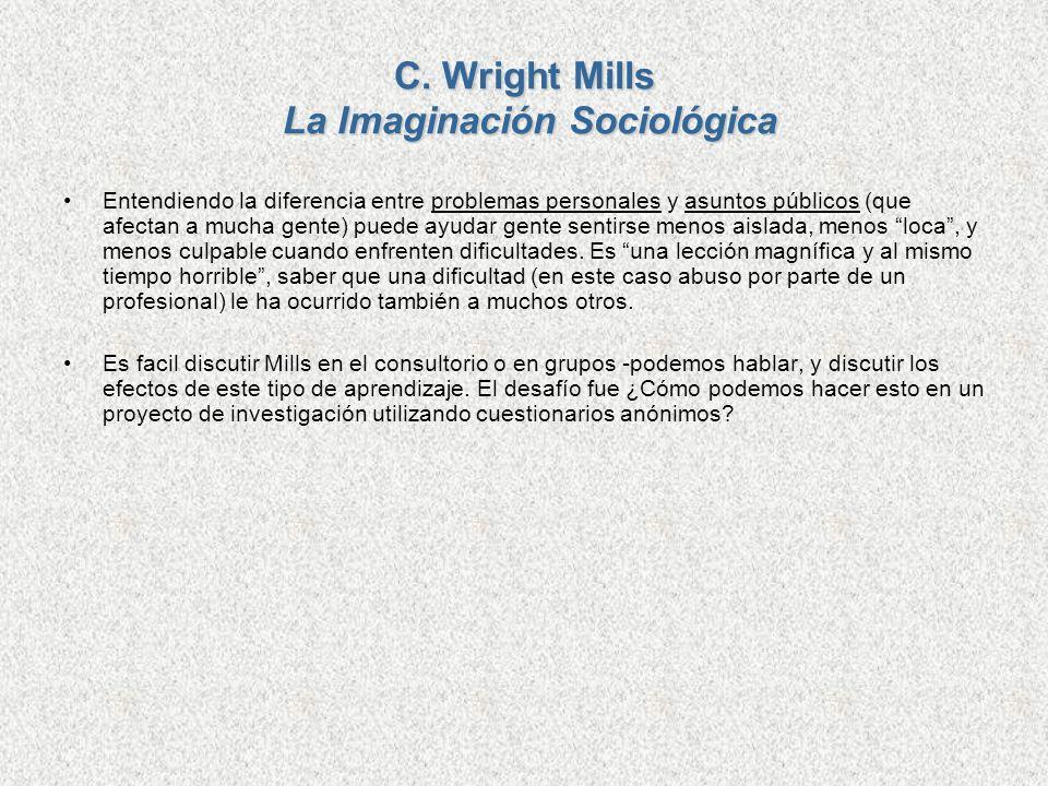 C. Wright Mills La Imaginación Sociológica Entendiendo la diferencia entre problemas personales y asuntos públicos (que afectan a mucha gente) puede a
