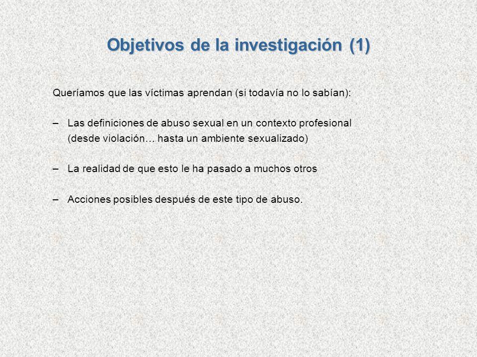Objetivos de la investigación (1) Queríamos que las víctimas aprendan (si todavía no lo sabían): –Las definiciones de abuso sexual en un contexto prof