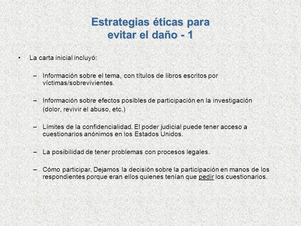 Estrategias éticas para evitar el daño - 1 La carta inicial incluyó: –Información sobre el tema, con títulos de libros escritos por víctimas/sobrevivi