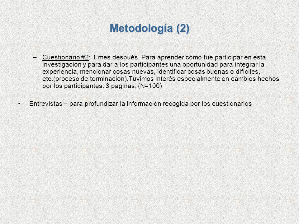 Metodología (2) –Cuestionario #2: 1 mes después. Para aprender cómo fue participar en esta investigación y para dar a los participantes una oportunida