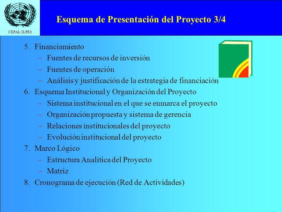 CEPAL/ILPES Esquema de Presentación del Proyecto 4/4 9.Evaluación –Criterios de evaluación TEFIAS (Técnica, Económica, Financiera, Ambiental, Institucional, Social) –Otros criterios de evaluación (tiempo, género, pobreza, prioridad comunitaria, etc.) –Indicadores –Análisis y conclusiones de la evaluación –Análisis cualitativo del proyecto.