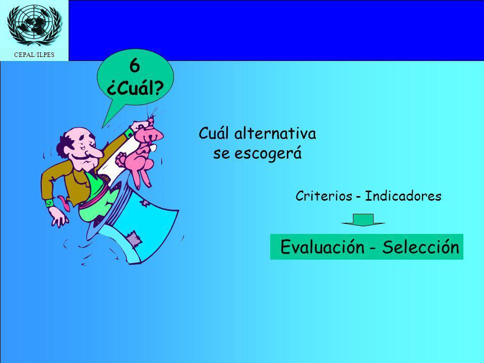 CEPAL/ILPES Cuál alternativa se escogerá 6 ¿Cuál? Evaluación - Selección Criterios - Indicadores