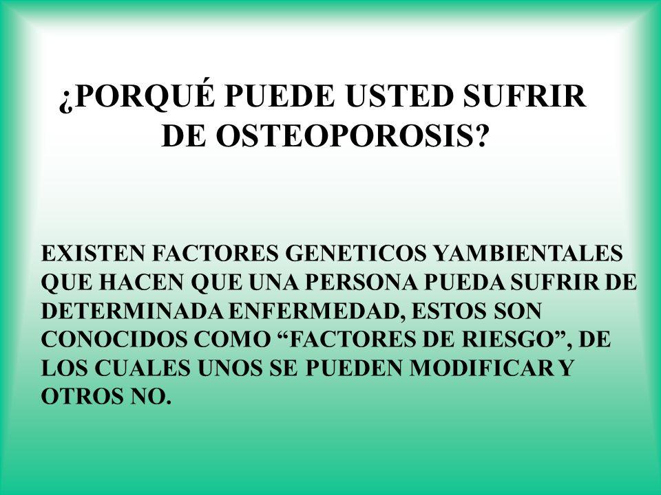 ¿ ¿PORQUÉ PUEDE USTED SUFRIR DE OSTEOPOROSIS? EXISTEN FACTORES GENETICOS YAMBIENTALES QUE HACEN QUE UNA PERSONA PUEDA SUFRIR DE DETERMINADA ENFERMEDAD