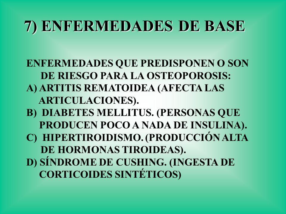 7) ENFERMEDADES DE BASE ENFERMEDADES QUE PREDISPONEN O SON DE RIESGO PARA LA OSTEOPOROSIS: A) ARTITIS REMATOIDEA (AFECTA LAS ARTICULACIONES). B) DIABE