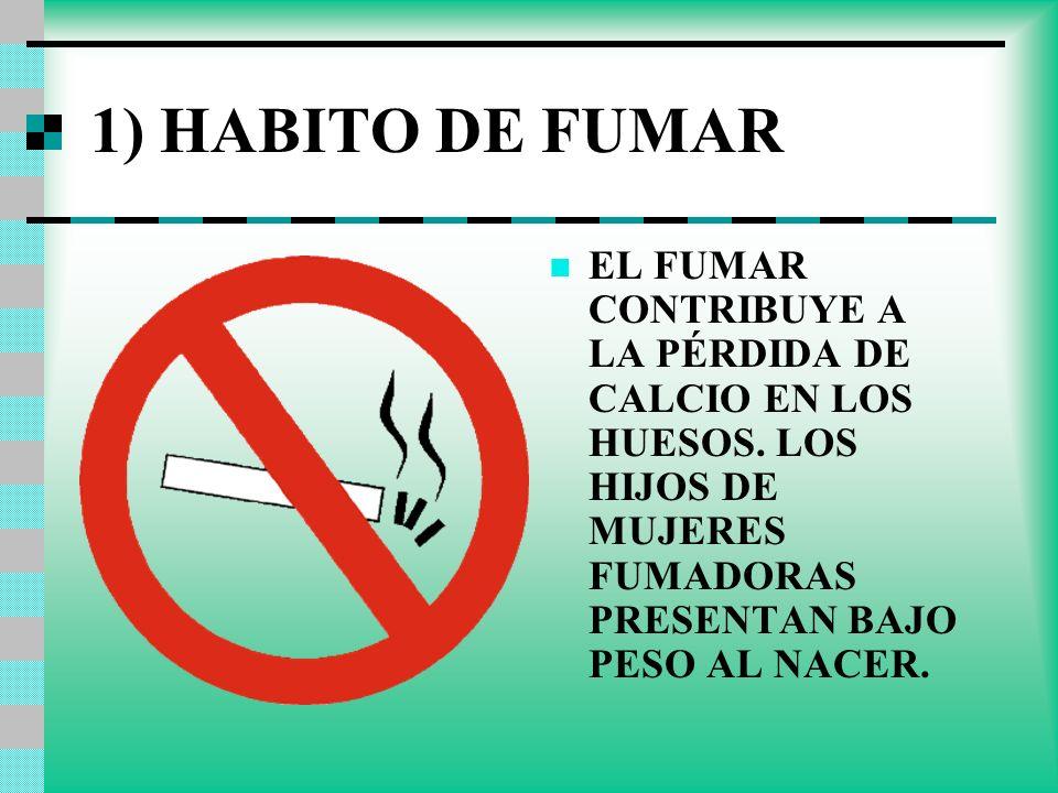 1) HABITO DE FUMAR EL FUMAR CONTRIBUYE A LA PÉRDIDA DE CALCIO EN LOS HUESOS. LOS HIJOS DE MUJERES FUMADORAS PRESENTAN BAJO PESO AL NACER.