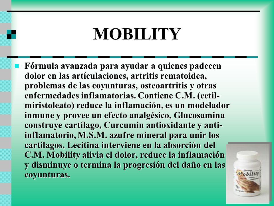MOBILITY Fórmula avanzada para ayudar a quienes padecen dolor en las artículaciones, artritis rematoidea, problemas de las coyunturas, osteoartritis y