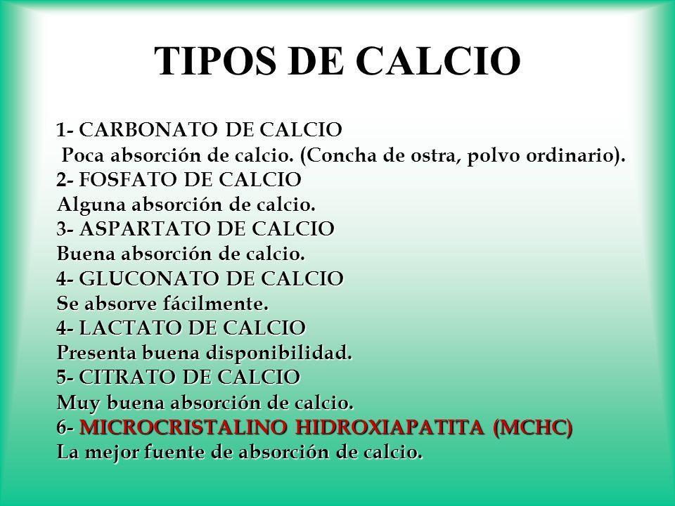 1-CARBONATO DE CALCIO 1- CARBONATO DE CALCIO Poca absorción de calcio. (Concha de ostra, polvo ordinario). Poca absorción de calcio. (Concha de ostra,