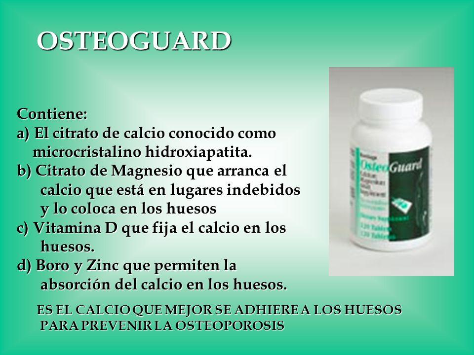 OSTEOGUARD Contiene: a) El citrato de calcio conocido como microcristalino hidroxiapatita. microcristalino hidroxiapatita. b) Citrato de Magnesio que
