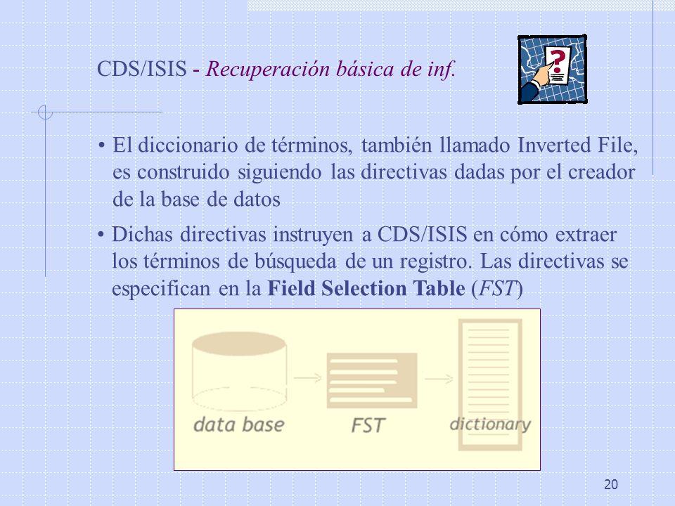 20 CDS/ISIS - Recuperación básica de inf. El diccionario de términos, también llamado Inverted File, es construido siguiendo las directivas dadas por