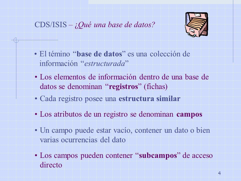 4 CDS/ISIS – ¿Qué una base de datos? El témino base de datos es una colección de información estructurada Los elementos de información dentro de una b