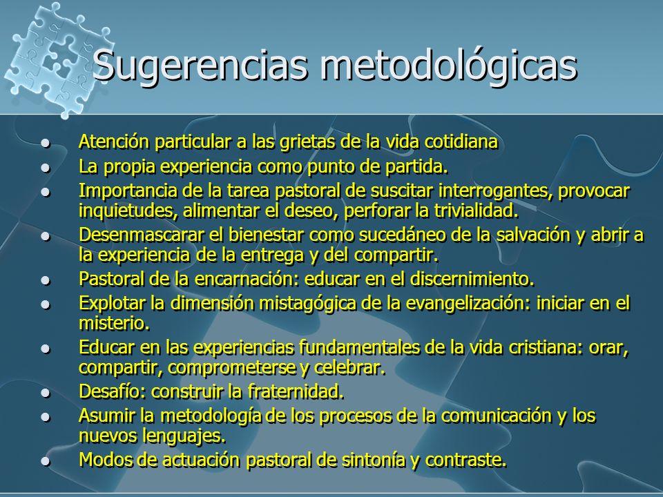 Sugerencias metodológicas Atención particular a las grietas de la vida cotidiana La propia experiencia como punto de partida. Importancia de la tarea