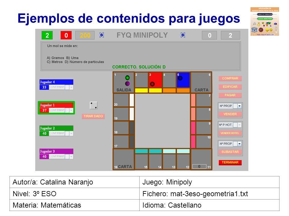Ejemplos de contenidos para juegos Autor/a: Rebeca de la CovaJuego: La ruleta de la fortuna Nivel: ESOFichero: len-eso-frase2.txt Materia: LenguaIdiom