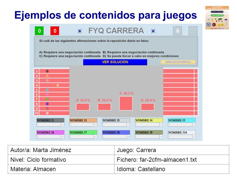 Ejemplos de contenidos para juegos Autor/a: Juan Miguel QuinteroJuego: Carrera Nivel: PCPIFichero: inf-1pcpi-general1.txt Materia: InformáticaIdioma: