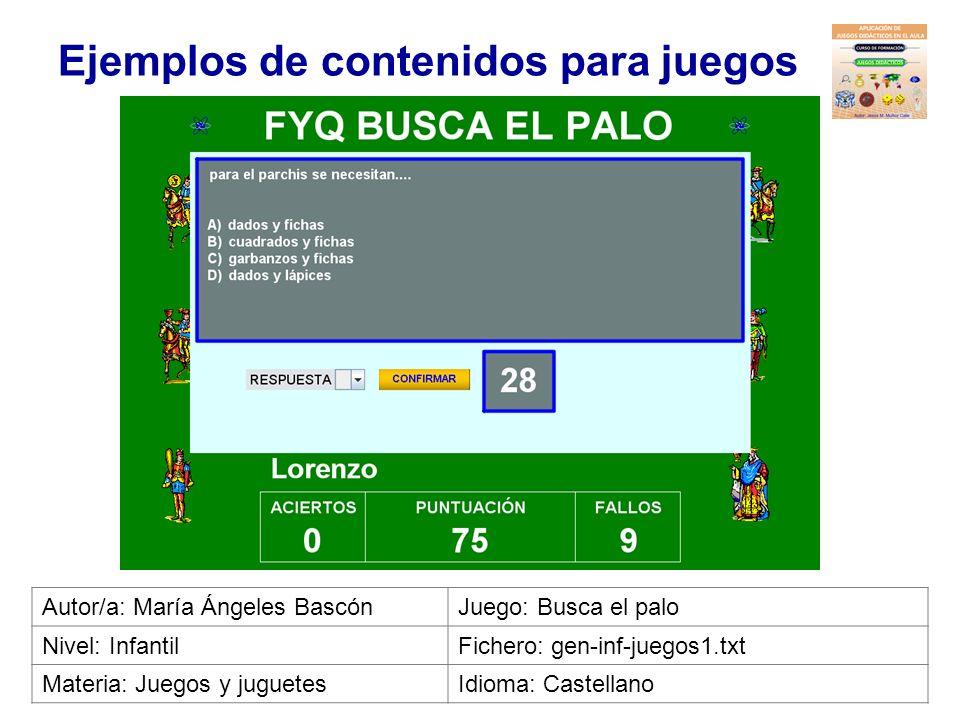 Ejemplos de contenidos para juegos Autor/a: Marina Isabel RamírezJuego: Bingo Nivel: InfantilFichero: cno-inf-conocimiento_entorno1.txt Materia: Conoc