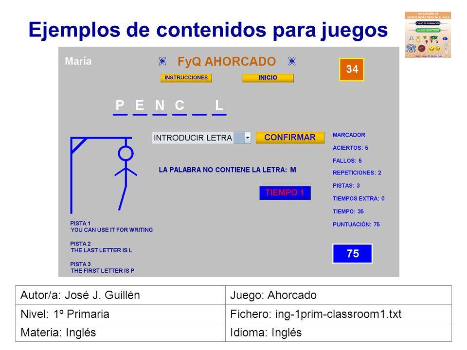Ejemplos de contenidos para juegos Autor/a: Irene MuñozJuego: Busca el palo Nivel: InfantilFichero: gen-inf-juegos1.txt Materia: Dibujos animadosIdiom