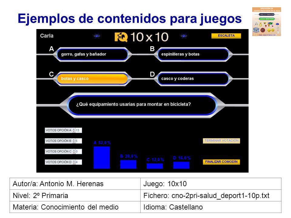 Ejemplos de contenidos para juegos Autor/a: José J. GuillénJuego: Ahorcado Nivel: 1º PrimariaFichero: ing-1prim-classroom1.txt Materia: InglésIdioma: