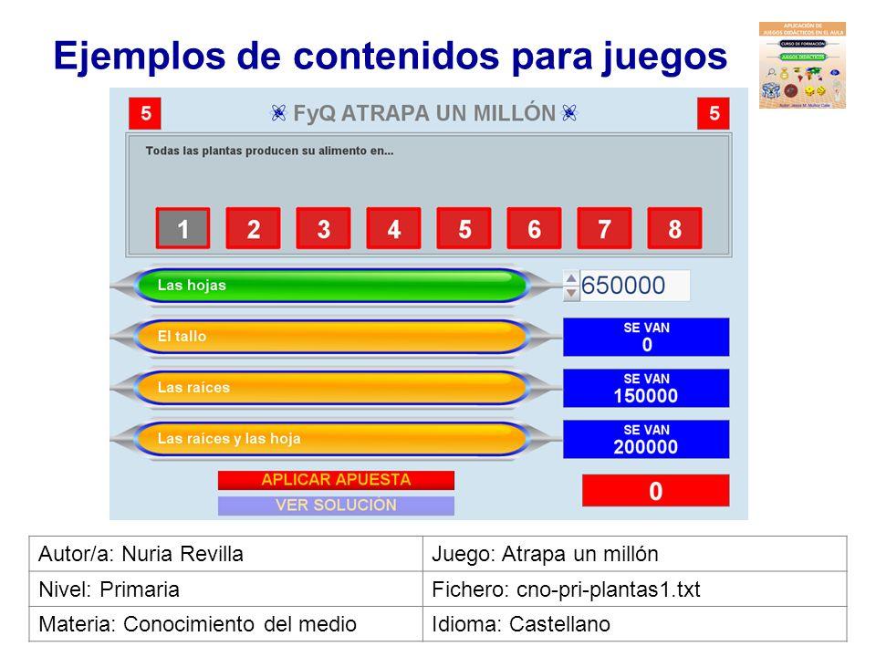Ejemplos de contenidos para juegos Autor/a: Antonio M. HerenasJuego: 10x10 Nivel: 2º PrimariaFichero: cno-2pri-salud_deport1-10p.txt Materia: Conocimi