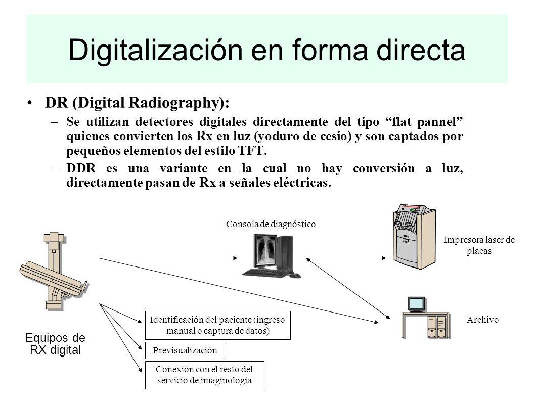 Digitalización en forma directa DR (Digital Radiography): –Se utilizan detectores digitales directamente del tipo flat pannel quienes convierten los R