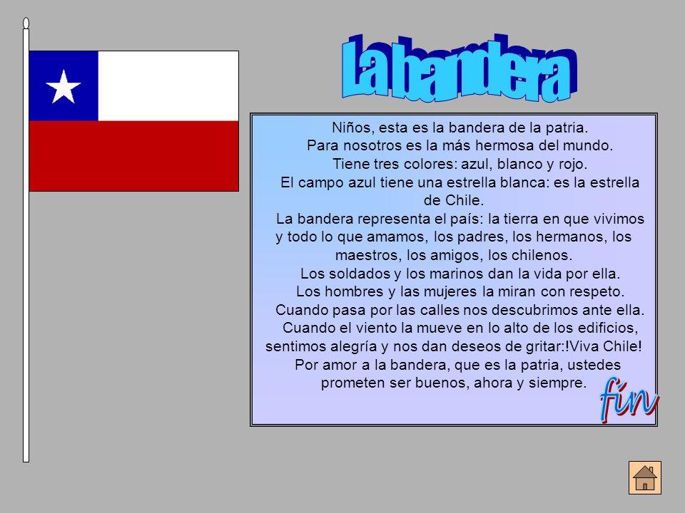 Niños, esta es la bandera de la patria. Para nosotros es la más hermosa del mundo. Tiene tres colores: azul, blanco y rojo. El campo azul tiene una es