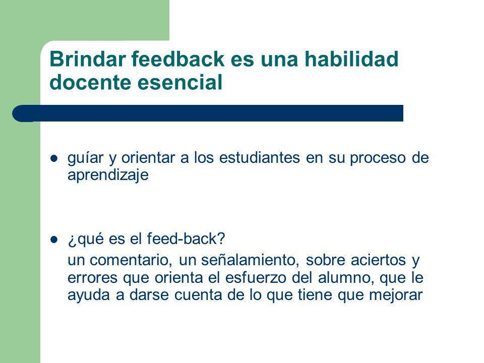 Brindar feedback es una habilidad docente esencial guíar y orientar a los estudiantes en su proceso de aprendizaje ¿qué es el feed-back.