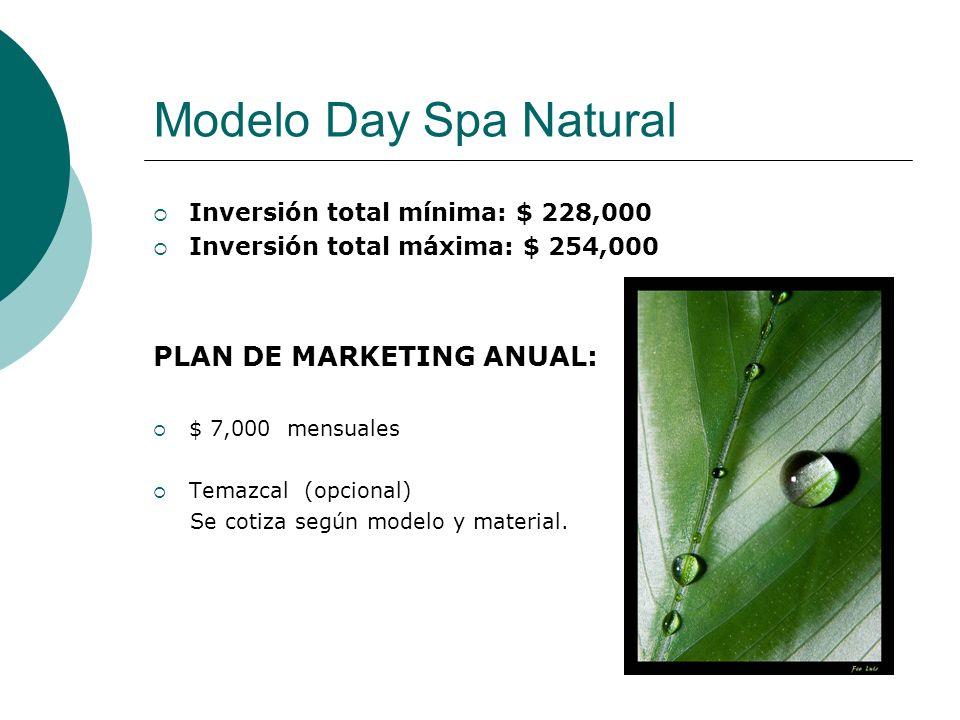Modelo Day Spa Natural Inversión total mínima: $ 228,000 Inversión total máxima: $ 254,000 PLAN DE MARKETING ANUAL: $ 7,000 mensuales Temazcal (opcion
