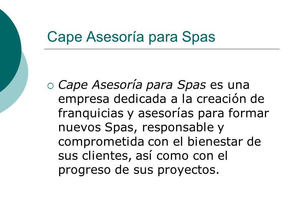 Oportunidad de negocio CAPE Asesoría para Spas te brinda la oportunidad de hacer realidad tu negocio Spa, ofreciéndote un modelo de negocio tipo Franquicia donde podrás adquirir el Know How que te permita montar adecuadamente tu negocio.