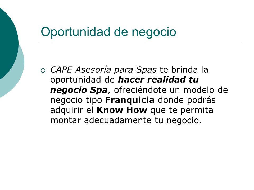 Oportunidad de negocio CAPE Asesoría para Spas te brinda la oportunidad de hacer realidad tu negocio Spa, ofreciéndote un modelo de negocio tipo Franq