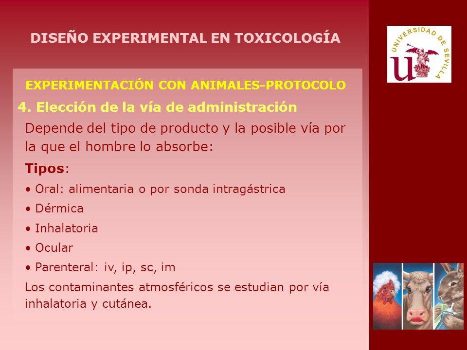 EXPERIMENTACIÓN CON ANIMALES-PROTOCOLO 4. Elección de la vía de administración Depende del tipo de producto y la posible vía por la que el hombre lo a