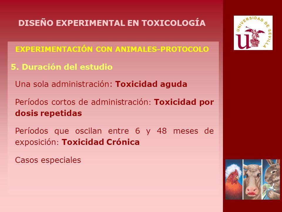 EXPERIMENTACIÓN CON ANIMALES-PROTOCOLO 5. Duración del estudio Una sola administración: Toxicidad aguda Períodos cortos de administración : Toxicidad